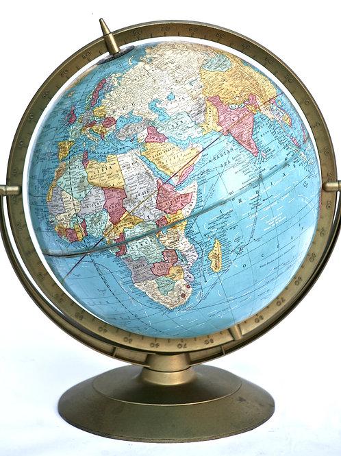 "CRAM 1960 mid century 12 "" terrestrial globe 3D relief"