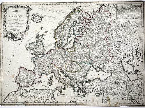 Large Antique French map of Europe 1779 by Delafosse engraved in Lyon