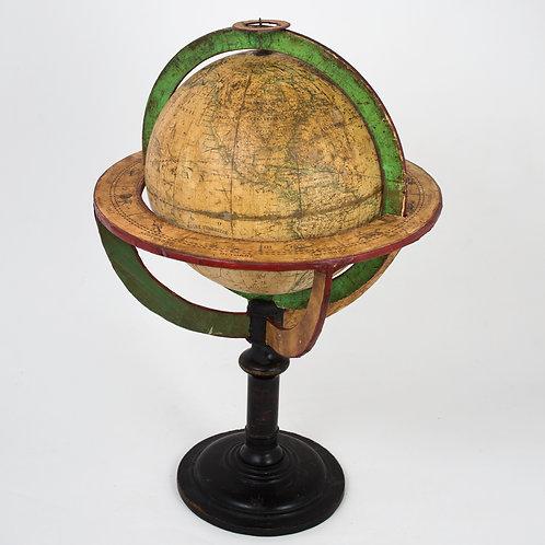"1830 French antique terrestrial globe 10"" cooper engraving Lapie geographer"
