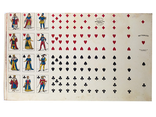 Uncut sheet playing card French suite PIGNALOSA NAPOLI full body