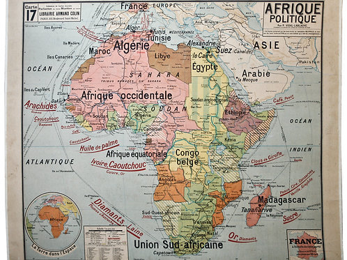 LARGE FRENCH SCHOOL Aid politica MAP OF AFRICA MID CENTURY New industrial style