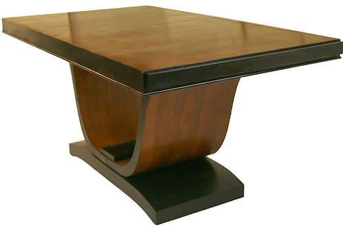 FRENCH ART DECO Dining room table  U SWAN BASE Walnut