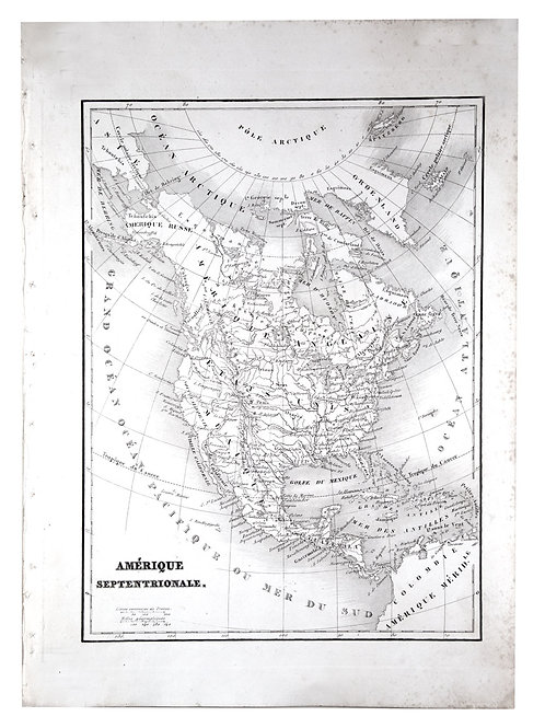 Antique French map of Northern America engraving Charles V. Monin (18..-1880).