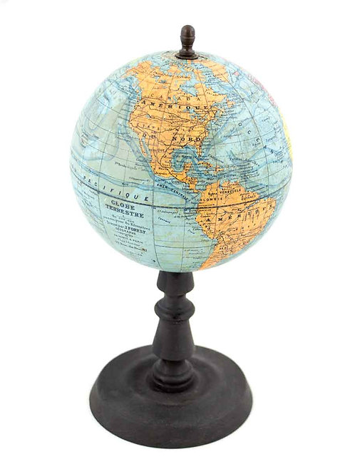 """1930's 7"""" ANTIQUE FRENCH TERRESTRIAL GLOBE Forest"""