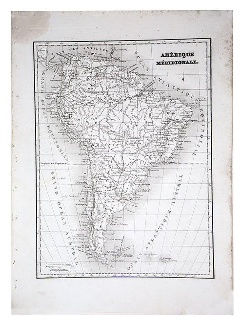 Antique French map of Southern  America engraving Charles V. Monin (18..-1880)