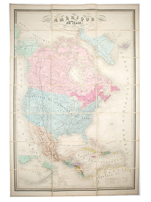 Large Antique French 1863 A.H.Dufour  Map of North America Linen back