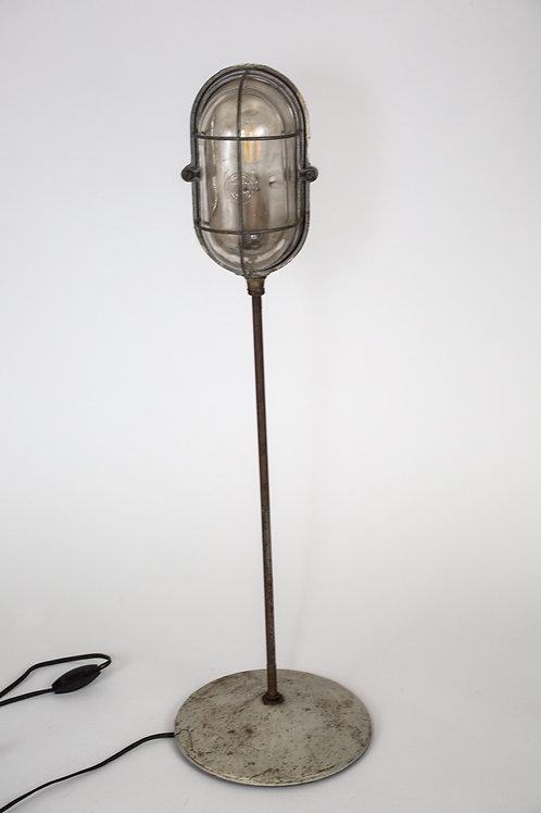 FRENCH INDUSTRIAL MODERNIST HUBLOT  FACTORY DESK LAMP CAGED LIGHT