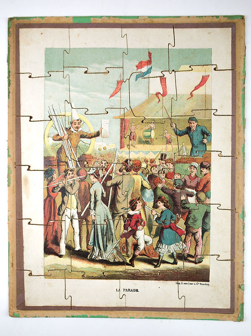 """FRENCH antique puzzle late 19th early 20th """" la parade """" the parade"""