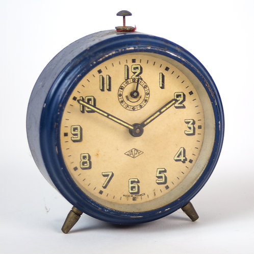French bleue  Art Deco alarm Clock Japy