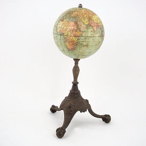 "6"" TERRESTRIAL ANTIQUE TABLE GLOBE W & K JOHNSTON for WEBER COSTELLO 1900"