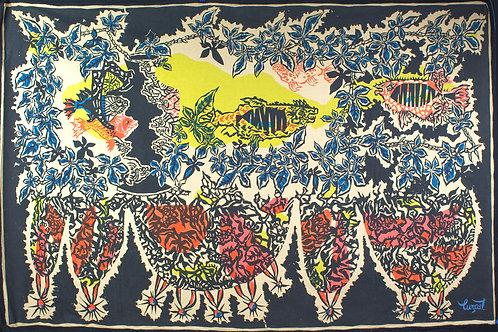 FRENCH silkscreen TAPESTRY JEAN Lurcat MODERNIST AUBUSSON congress of fish