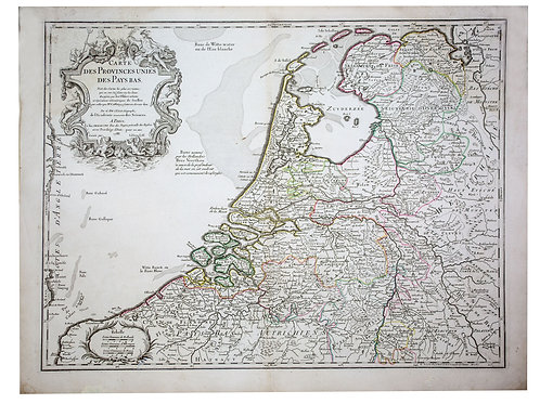 De L'Isle Philippe Buache Engraved cooper  map of Nertherland 1788