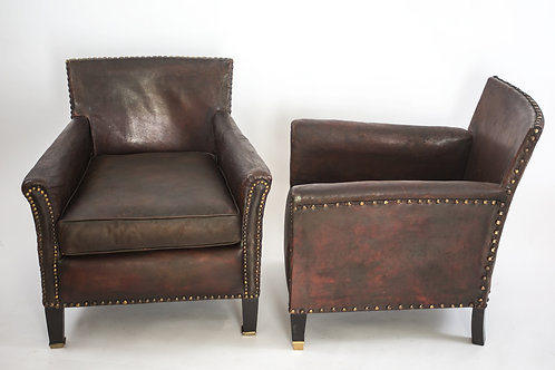 PETITE FRENCH ART DECO LEATHER CLUB CHAIR ORIGINAL CONDITION