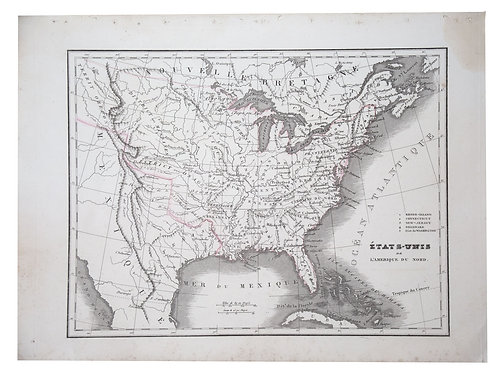 Antique French map of the United states engraving Charles V. Monin (18..-1880).