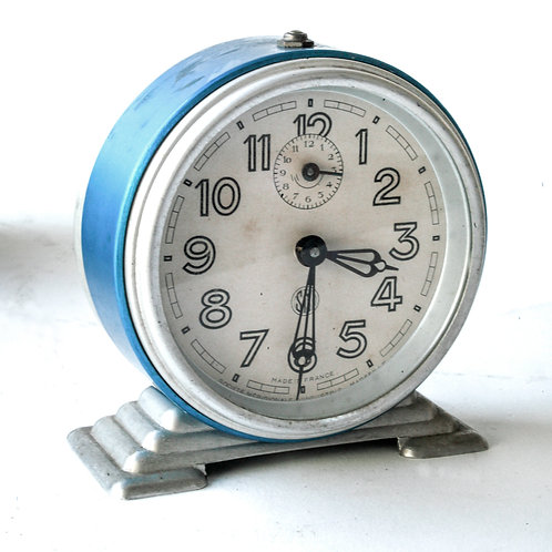 French bleu  Art Deco alarm Clock SMI France