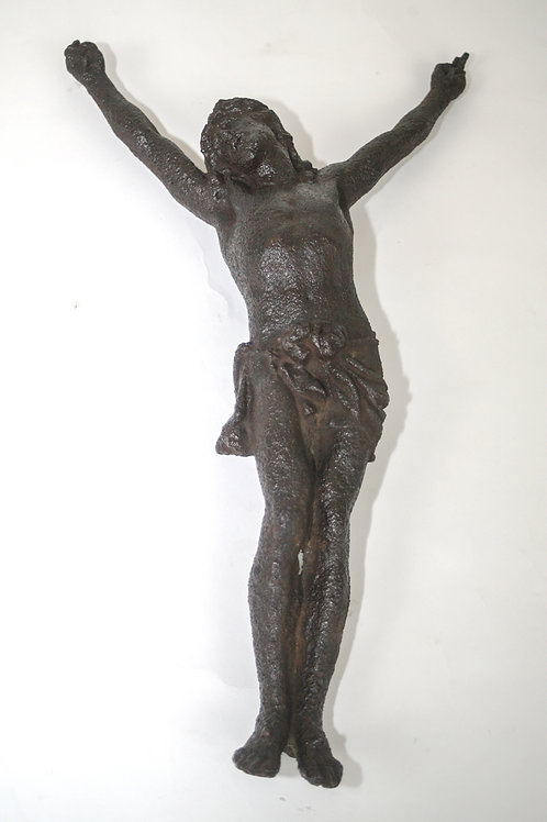 large cast iron french  antique christ statue crucifix late 19th.