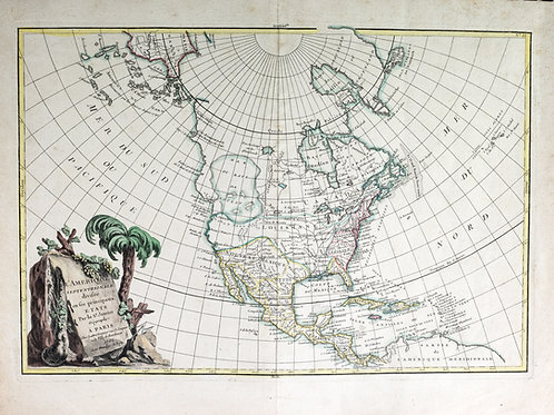 Large French map of the Americas  published by Sr Janvier 1762 sea of the west
