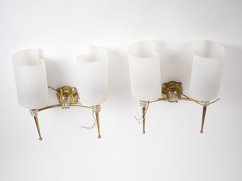 FRENCH modernist pair of Leleu SCONCES 1950 mid century neo classic