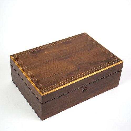 French Antique Wood Portable Travel Writing Box Case Mahogany