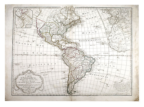 Guillaume De L'Isle Philippe Buache Large Antique French Map of the Americas