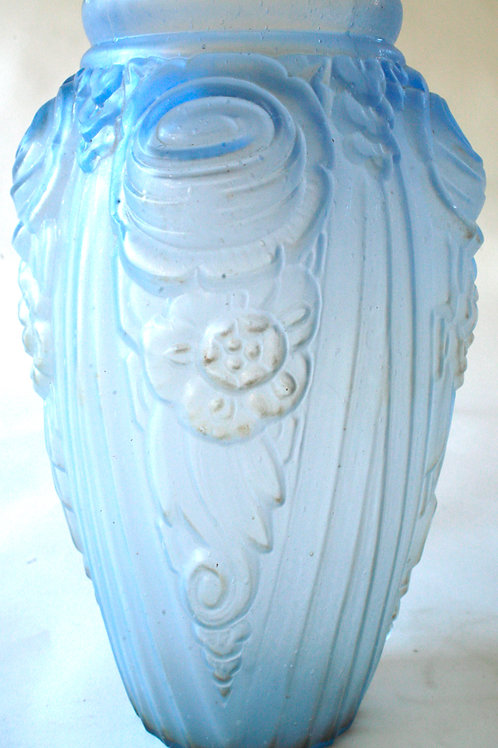 Molded  french Art Deco glass vase