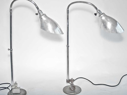 FRENCH INDUSTRIAL MODERNIST pair LAMPS KI-E-KLAIR