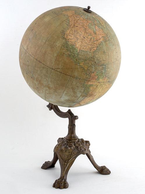 1880 Girard & Boitte French antique terrestrial globe 14 inches