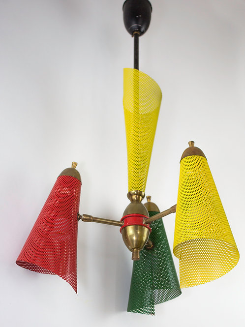 FRENCH modernist colorful CHANDELIER Mathieu Mategot mid century