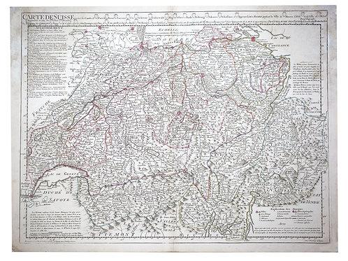 De L'Isle Philippe Buache Engraved cooper  map of Switzerland 1769