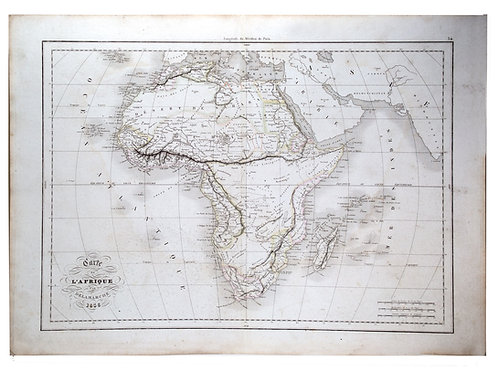 Antique French Engraving Felix Delamarche map of Africa 1838