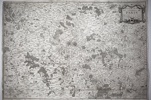 Large Topographic Engraving Antique French map of Paris region 1786