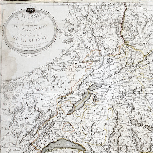 Large Topographic Engraving Antique French map of SWITZERLAND 1796 HERISSON