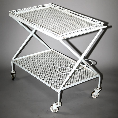FRENCH MODERNIST ROLLING BAR TROLLEY MATEGOT Mid century serving table rigitulle