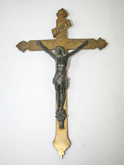 Brass  Antique 19th French cast metal Jesus Christ Altar hanging cross