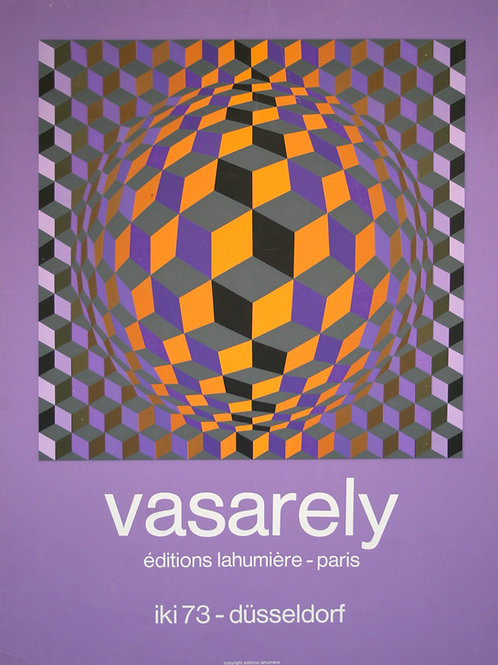 FRENCH silkscreen Victor VASARELY Poster Midcentury galerie Lahumiere