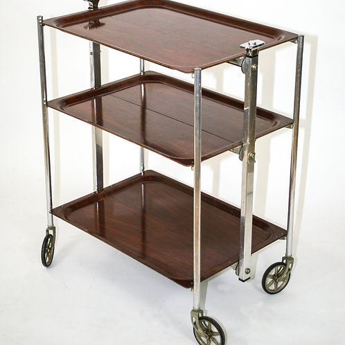 FRENCH MODERNIST ROLLING BAR/CART/TROLLEY MID CENTURY TEXTABLE