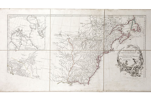 Large Antique French 1746 D'anville Map of the United States & Central America