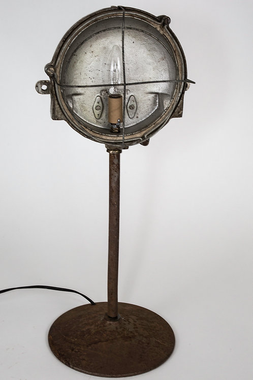 FRENCH INDUSTRIAL  MODERNIST FACTORY DESK LAMP CAGED LIGHT