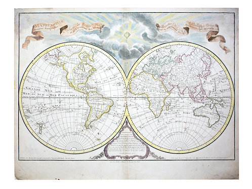 De L'Isle Philippe Buache Double hemisphere map of the World 1800