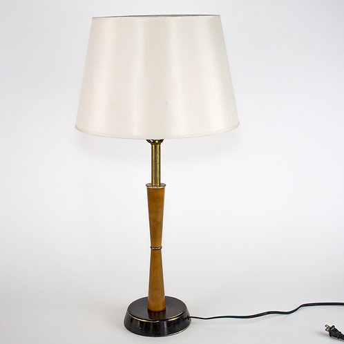 MID CENTURY TABLE LAMP WOOD POOL PEARSALL STYLE 1950