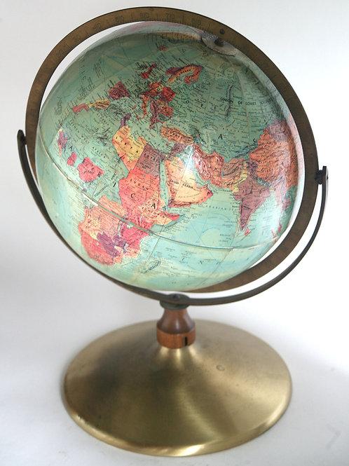 """1960 mid century 12"""" Terrestrial globe Replogle 3d relief"""