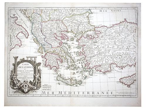 De L'Isle Philippe Buache engraved map of Greece  1800