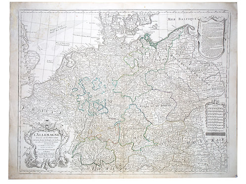 De L'Isle Philippe Buache Engraved cooper map of Germany Allemagne 1788