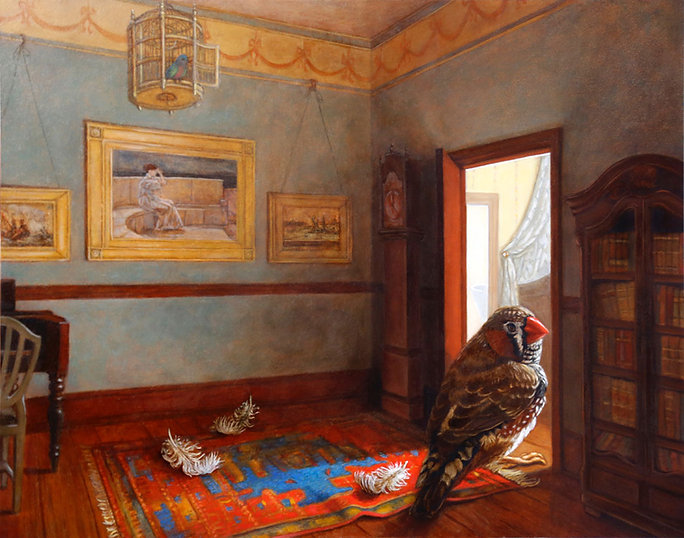 Jacqueline Nicolini's exquisite oil painting called Looking Back shows a male finch bird residing within the walls of an enchanting dollhouse.