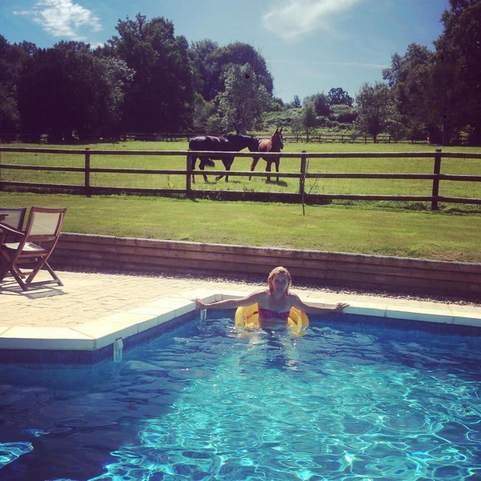 chevaux piscine