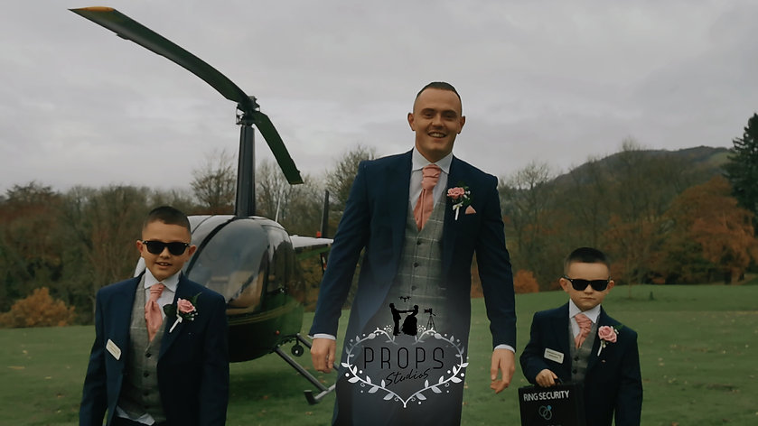groom helicopter, groom arrives in helicopter,