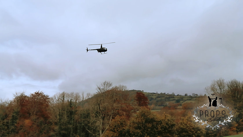 wedding helicopter, brecon wedding videogapher, brecon wedding venue, south wales wedding videographer