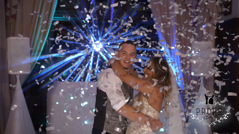 confetti cannon hire, wedding videographer South Wales