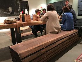 Vollholz Sitzbank Edelholzmöbel Schwarznuss Holz
