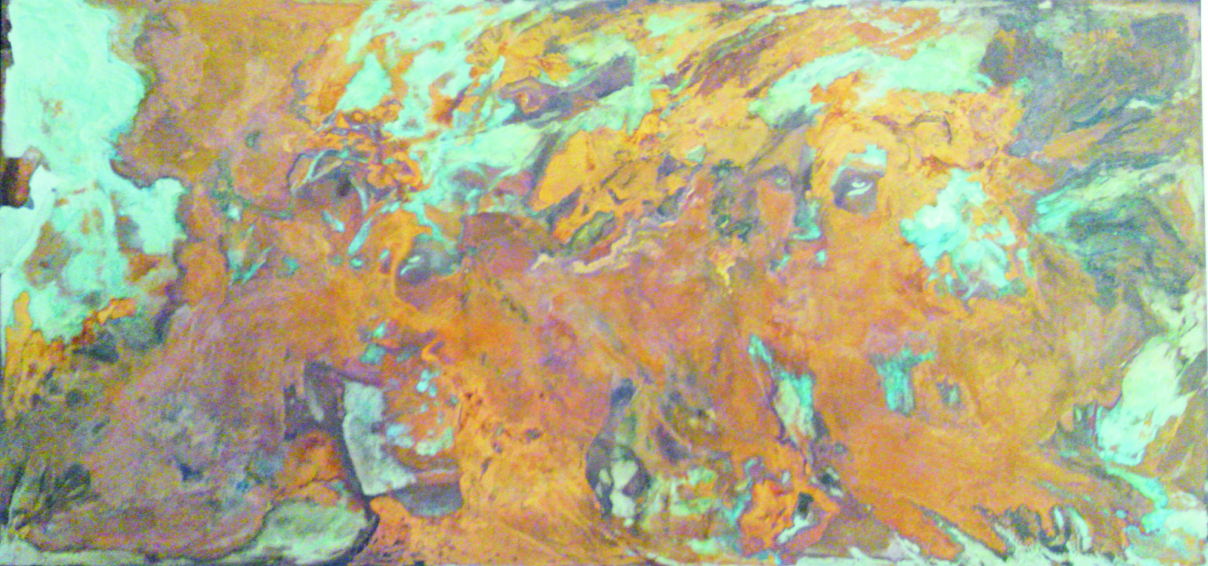 Two Lions -  mixed rust medium on canvas - 1.2m x 2.5 - HR